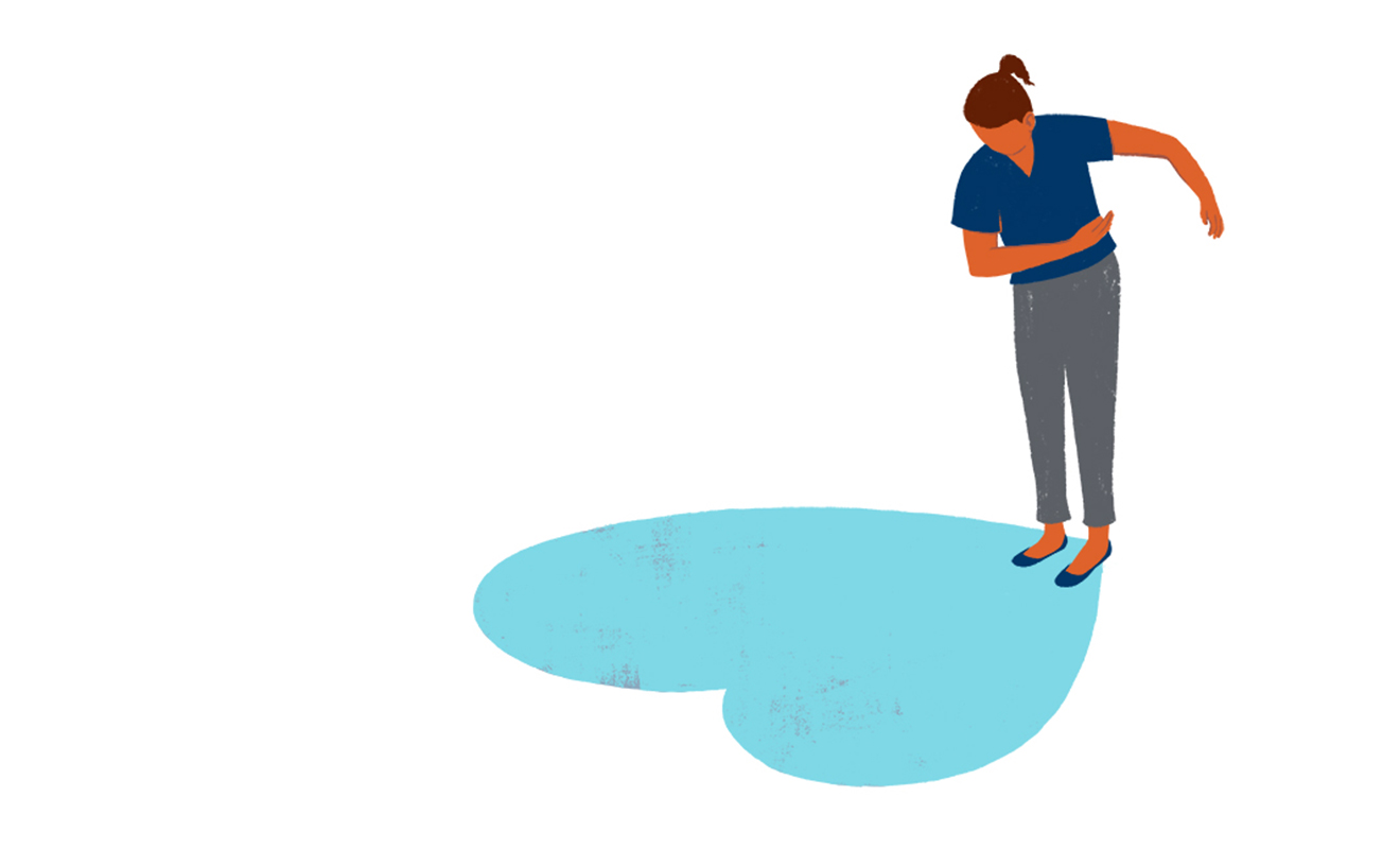 Illustration of a character taking a bow with a blue heart on the floor