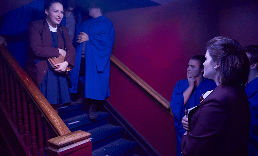 Confrontation on a staircase between two female students