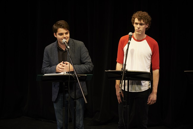 two students performing