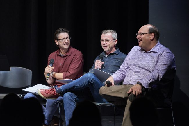 Neil Bartram, Brian Hill and Michael Rubinoff in conversation