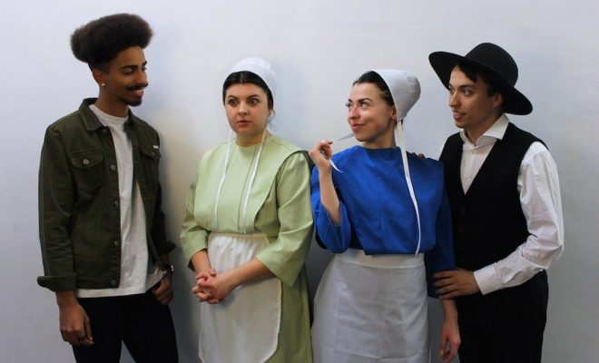 Four actors portraying Amish characterse